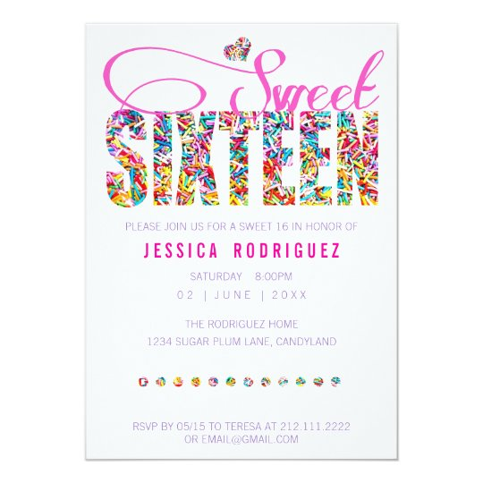 candy theme sweet sixteen birthday invitation zazzle com