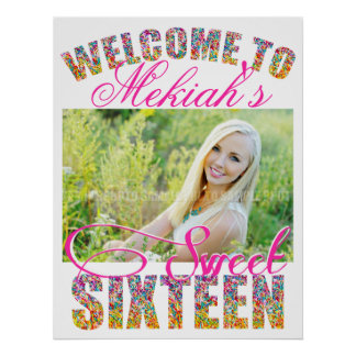 Candy Theme Sweet Sixteen Birthday WELCOME SIGN Poster