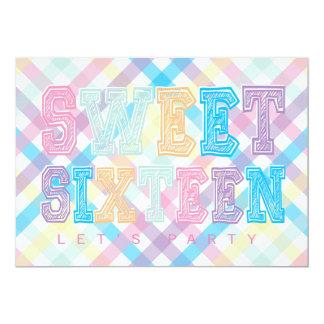 Candy Theme Sweet Sixteen Pink Purple Blue Card