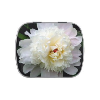 Candy Tin, Double White Peony Jelly Belly Candy Tin
