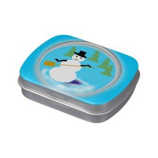 Candy Tin - Snowman inside Globe