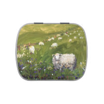 Candy tin with sheep and meadow