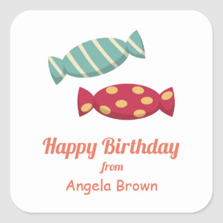 Candy/Toffee Birthday Goodies Square Sticker