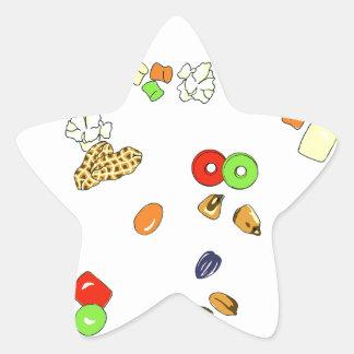 Candy treats star sticker
