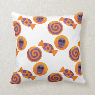 Candy with skulls pattern Halloween Throw Pillow