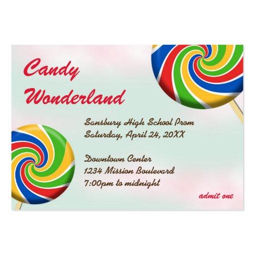 Candy wonderland custom logo prom admission ticket large business cards (Pack of 100)