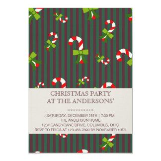 Candycane 3 christmas party invitation