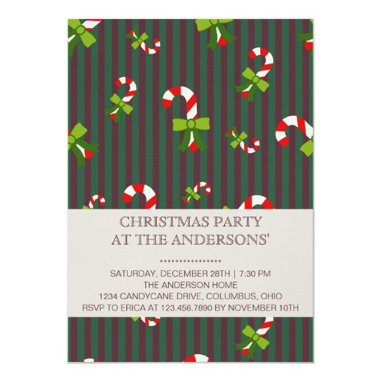 Candycane 3 christmas party invitation