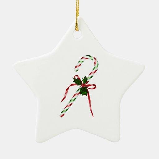 Candycane del navidad adorno de cerámica en forma de estrella