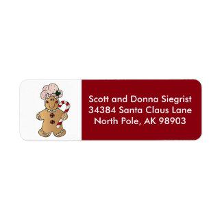 Candycane Gingerbread Man   Christmas Label