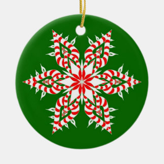 Candycane Green Snowflake - Christmas Ornament