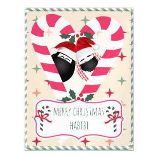 CandyCane heart HABIBI Magnet Christmas Card
