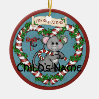 CandyCane Mouse Double-Sided Ceramic Round Christmas Ornament