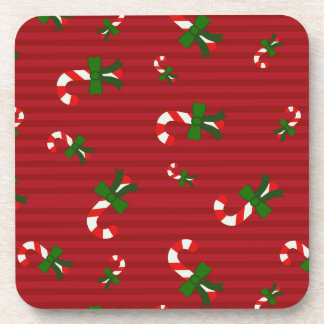 Candycane  on red stripes christmas coasters
