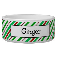 Candycane Peppermint Personalized Pet Bowls