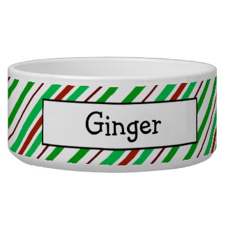 Candycane Peppermint Personalized Pet Bowls Dog Food Bowls