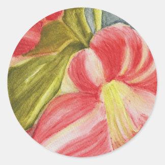 Candycane Petals Classic Round Sticker