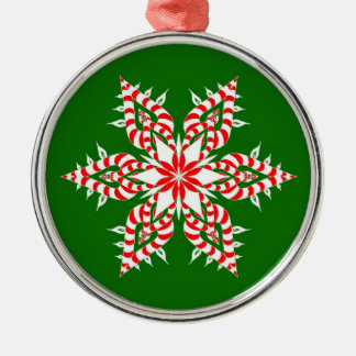 Candycane Snowflake Green - Christmas Ornament
