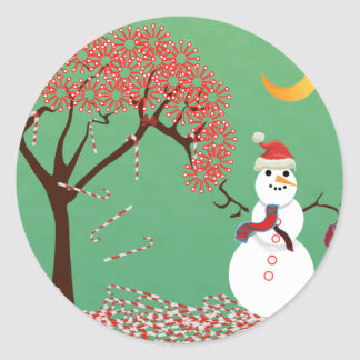 Candycane Tree with Snowman Classic Round Sticker