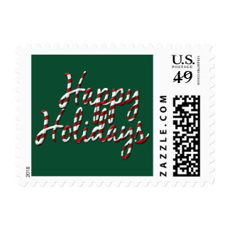 candycanes happy holidays red and green fun stamps