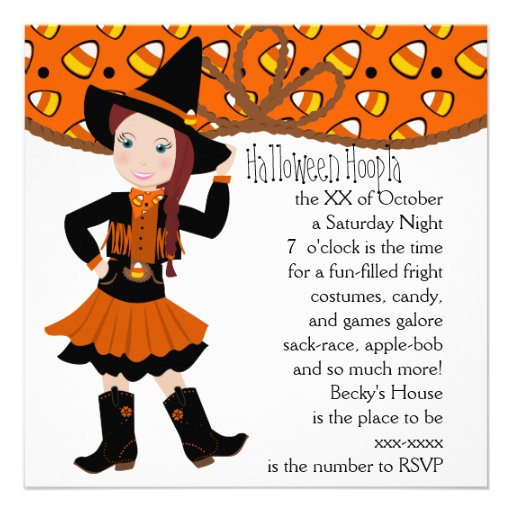 Candycorn Cowgirl! Custom Invite