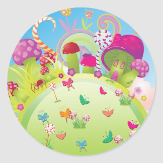 Candyland 1 (Template) Classic Round Sticker