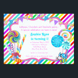 "Candyland Candy Theme Birthday Invitation<br><div class=""desc"">Candyland candy Theme Birthday Invitation. This birthday party invitation is easily customized for your party or any event by choosing the ""Customize it!"" button to begin adding your event details, font style, font size & color, and wording. ************************************************************************************* Please note - all of the invitation designs you will find on...</div>"