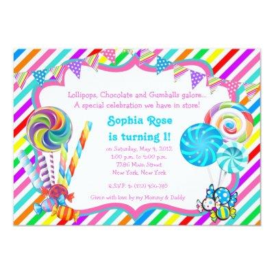 Candyland Candy Theme Sweet 16 Invitation Zazzle
