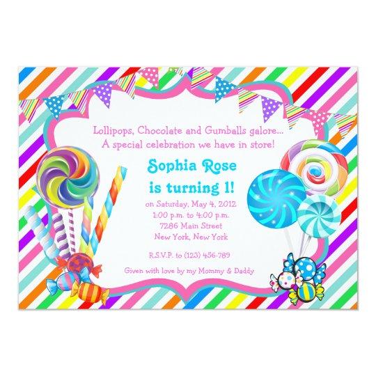 candyland candy theme birthday invitation zazzle com