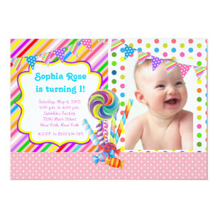 Candy Birthday Invitations Announcements Zazzle