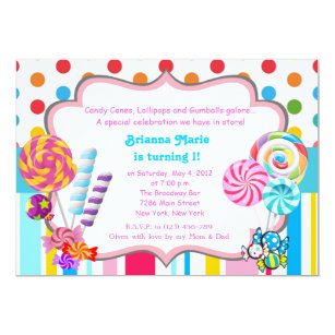 candyland candy theme birthday invitation