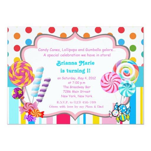 Candyland candy Theme Birthday Invitation | Zazzle