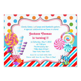 Candyland party invitations announcements zazzle candyland candy theme birthday invitation stopboris Choice Image