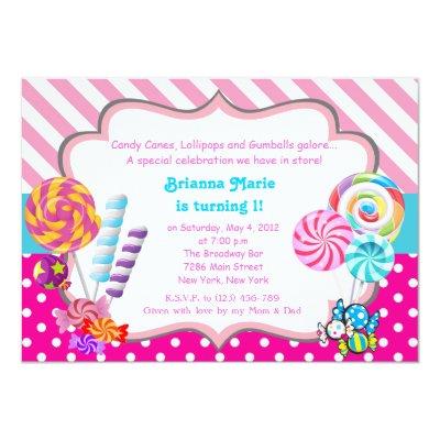Lollipop Invitation Candyland Invitation Zazzlecom