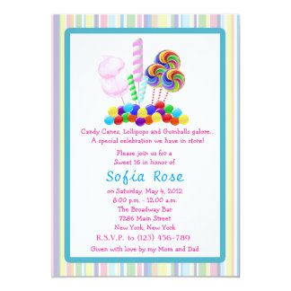 Candyland Candy Theme Sweet 16 Birthday  Invite