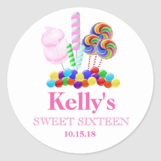 Candyland candy Theme Sweet 16 Favor Labels Classic Round Sticker