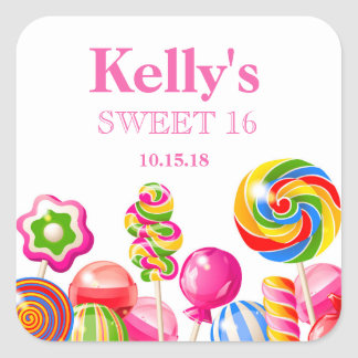 Candyland candy Theme Sweet 16 Favor Labels Square Sticker