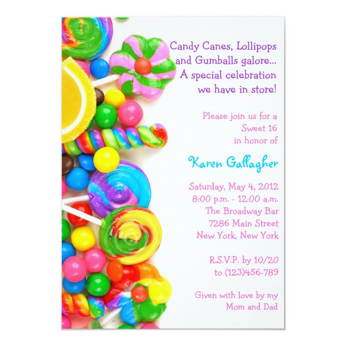 Candy Themed Sweet 16 Decorations  from rlv.zcache.com