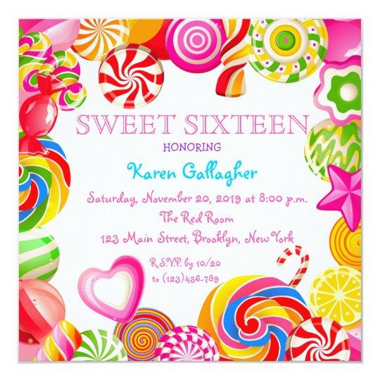 Candyland Candy Theme Sweet 16 Invitation Zazzlecom