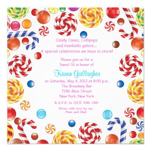 Candyland candy Theme Sweet 16 Invite