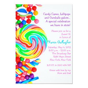 Candy Sweet 16 Invitations Announcements Zazzle