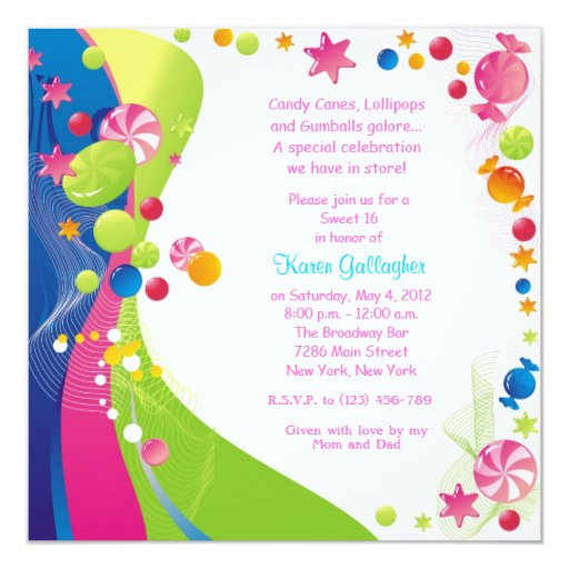Candyland Theme Invitations for luxury invitations sample