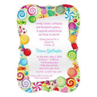 Candyland candy Theme Sweet 16 Invite Personalized Invitations