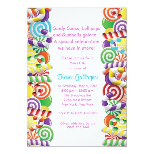 Candyland Candy Theme Sweet 16 Invite 5 X 7 Invitation