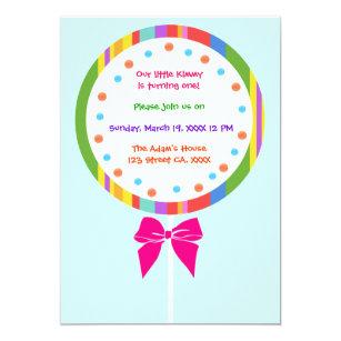 Lollipop invitations announcements zazzle candyland lollipop birthday invitations filmwisefo