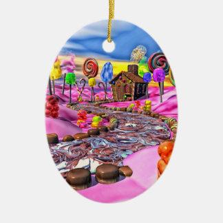 Candyland rosado adorno navideño ovalado de cerámica
