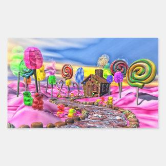 Candyland rosado pegatina rectangular