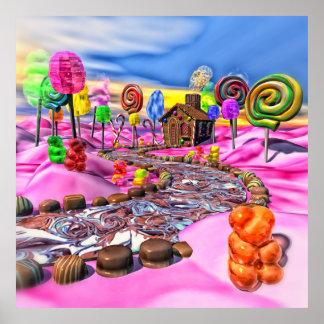 Candyland rosado póster