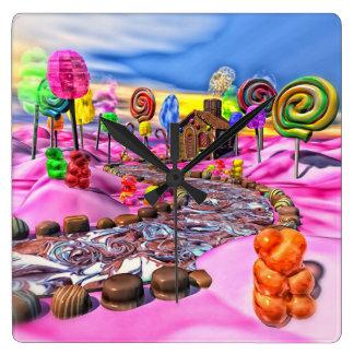 Candyland rosado reloj cuadrado