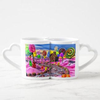 Candyland rosado tazas para enamorados
